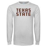 White Long Sleeve T Shirt-Texas State Stacked