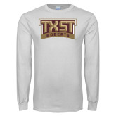 White Long Sleeve T Shirt-TXST Bobcats