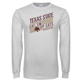 White Long Sleeve T Shirt-Eat em up Cats