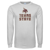 White Long Sleeve T Shirt-Texas State Distressed