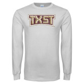 White Long Sleeve T Shirt-TXST Distressed