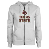 ENZA Ladies White Fleece Full Zip Hoodie-Texas State Logo Stacked