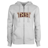 ENZA Ladies White Fleece Full Zip Hoodie-TXST Texas State