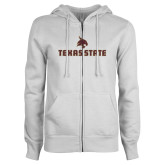 ENZA Ladies White Fleece Full Zip Hoodie-Texas State Secondary