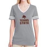 Ladies Grey Heather/White Tri Blend Varsity Tee-Texas State Logo Stacked