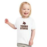 Toddler White T Shirt-Texas State Logo Stacked