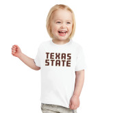 Toddler White T Shirt-Texas State Stacked