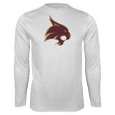 Performance White Longsleeve Shirt-Bobcat Logo