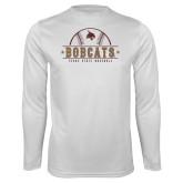 Performance White Longsleeve Shirt-Bobcats Baseball