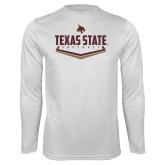 Performance White Longsleeve Shirt-Texas State Softball