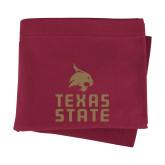 Maroon Sweatshirt Blanket-Texas State Logo Stacked