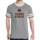 Grey Heather/White Tri Blend Varsity Tee-Texas State Logo Stacked