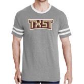 Grey Heather/White Tri Blend Varsity Tee-TXST Texas State