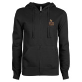 ENZA Ladies Black Fleece Full Zip Hoodie-Texas State Logo Stacked