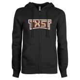 ENZA Ladies Black Fleece Full Zip Hoodie-TXST Texas State
