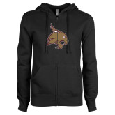 ENZA Ladies Black Fleece Full Zip Hoodie-Bobcat Logo