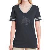 Ladies Black Heather/Grey Tri Blend Varsity Tee-F Graphite Soft Glitter