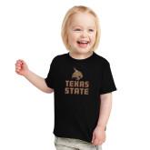 Toddler Black T Shirt-Texas State Logo Stacked