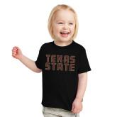 Toddler Black T Shirt-Texas State Stacked