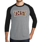 Grey/Black Tri Blend Baseball Raglan-TXST Texas State