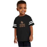 Toddler Black Jersey Tee-Texas State Logo Stacked