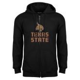 Black Fleece Full Zip Hoodie-Texas State Logo Stacked