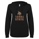 ENZA Ladies Black V Notch Raw Edge Fleece Hoodie-Texas State Logo Stacked