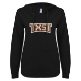 ENZA Ladies Black V Notch Raw Edge Fleece Hoodie-TXST Texas State