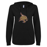 ENZA Ladies Black V Notch Raw Edge Fleece Hoodie-Bobcat Logo