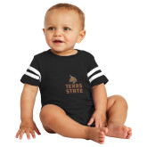 Black Jersey Onesie-Texas State Logo Stacked