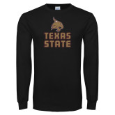 Black Long Sleeve T Shirt-Texas State Logo Stacked
