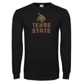 Black Long Sleeve T Shirt-Texas State Distressed