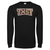 Black Long Sleeve T Shirt-TXST Distressed