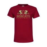 Youth Maroon T Shirt-Bobcats Football
