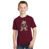 Youth Maroon T Shirt-Mascot