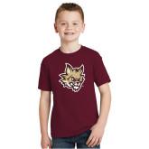 Youth Maroon T Shirt-Mascot Head