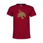 Youth Maroon T Shirt-Bobcat Logo