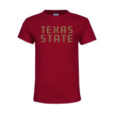 Youth Maroon T Shirt-Texas State Stacked