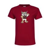 Youth Maroon T Shirt-Bobcat Mascot