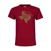 Youth Maroon T Shirt-TXST Eat em up Cats