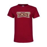 Youth Maroon T Shirt-TXST Distressed