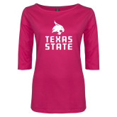 Ladies Dark Fuchsia Perfect Weight 3/4 Sleeve Tee-Texas State Logo Stacked