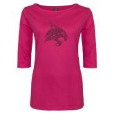 Ladies Dark Fuchsia Perfect Weight 3/4 Sleeve Tee-M Hot Pink Glitter