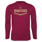 Performance Maroon Longsleeve Shirt-Texas State Softball