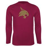 Performance Maroon Longsleeve Shirt-Bobcat Logo