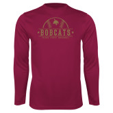 Performance Maroon Longsleeve Shirt-Bobcats Baseball