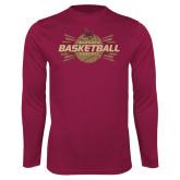 Performance Maroon Longsleeve Shirt-Bobcats Basketball