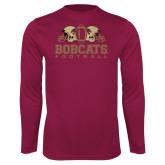 Performance Maroon Longsleeve Shirt-Bobcats Football