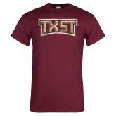 Maroon T Shirt-TXST Distressed