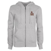ENZA Ladies Grey Fleece Full Zip Hoodie-Texas State Logo Stacked